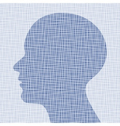 blue head profile on canvas texture vector image