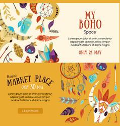 Boho market banners vector