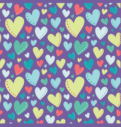 bright colorful hearts purple seamless vector image