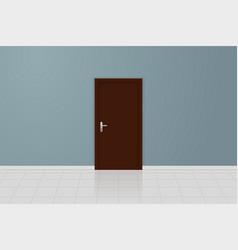 Brown wooden door on a gray wall interior design vector