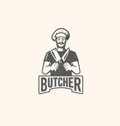 butcher logo with text man with beard and large vector image