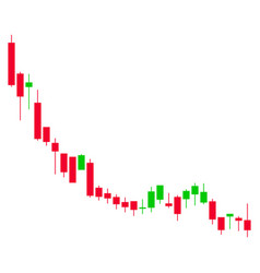 Candlestick chart falling slowdown flat icon vector