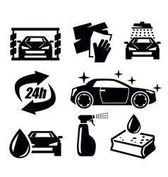 Car wash icons vector