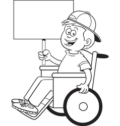 Cartoon Wheelchair Boy Sign vector image