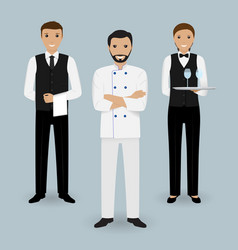 Chef cook and two waiters in uniform standing vector