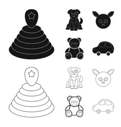 children toy blackoutline icons in set collection vector image