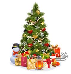 christmas pine tree with garland vector image