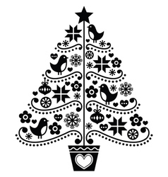 Christmas tree design - folk style with birds vector