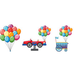 colorful balloons with car and cart vector image