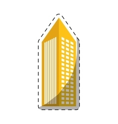 Colorful building with pointed top icon vector