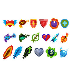 Colorful game interface elements heart with wings vector