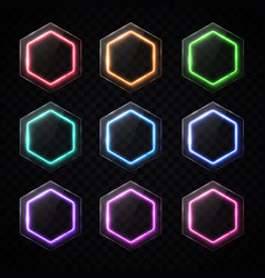 colorful neon hexagon banners set hexagonal logo vector image