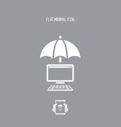 computer protection - minimal icon vector image