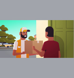 Courier man delivering cardboard parcel box to vector