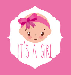 Cute face girl baby shower label vector
