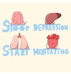 Cute internal organs meditating and struggling vector
