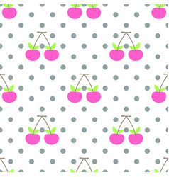 cute pattern pink cherry seamless vector image