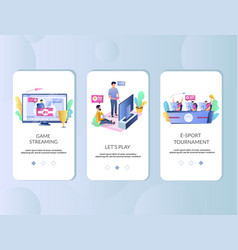 cybersport mobile app onboarding screens vector image