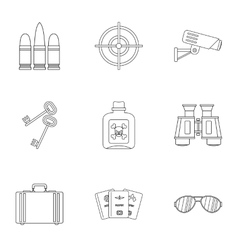 Detective icons set outline style vector