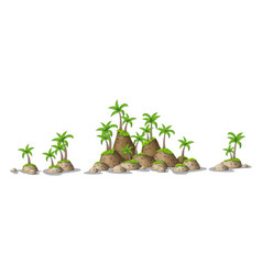 Different hills with tropical palm trees panorama vector