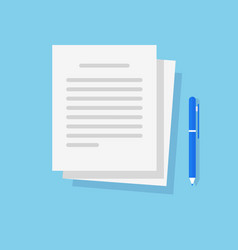 Document text file and writing article content on vector