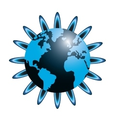 earth globe flower icon vector image