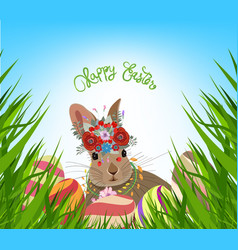 easter eggs spring fresh grass background vector image