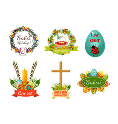 easter spring holiday cartoon symbol set vector image