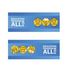 education set banners education program vector image
