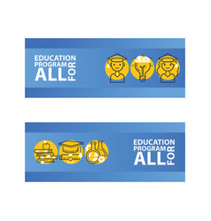 education set of banners education program for vector image