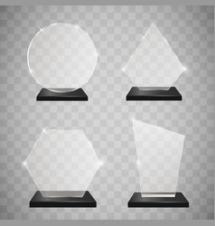 empty glass trophy awards set glossy transparent vector image
