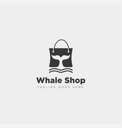 Fashion bag shoping with whale simple logo type vector