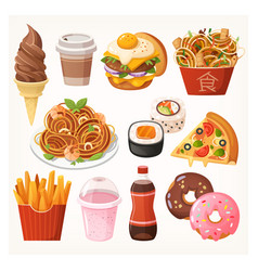 fast food takeaway meals and snacks vector image