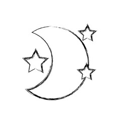 Figure cute moon with stars in the night space vector