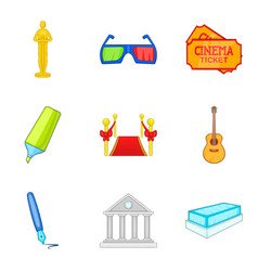 Film creator icons set cartoon style vector