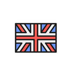 flag great britain england flat color line vector image