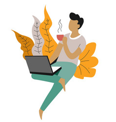 freelance and distant work man with laptop vector image
