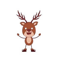 funny Christmas reindeer character isolated icon vector image