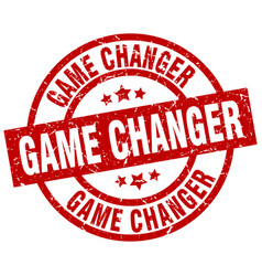 game changer round red grunge stamp vector image