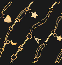 Golden chains and charms seamless pattern fashion vector
