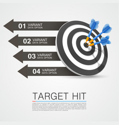 Graphic information target with darts vector