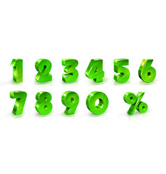green shiny numbers and percent sign set 3d vector image