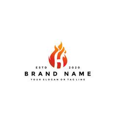 H letter logo fire design vector