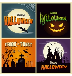 Happy halloween set card vector image