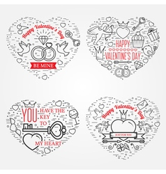 Happy Valentines Day greetings card labels badges vector image