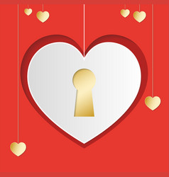 heart in paper style with door loch in center on vector image