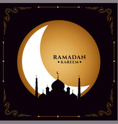 Holy ramadan month festival card with mosque vector