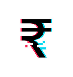 Indian rupee sign in glitch style vector