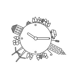 infographics modern city living concept clock vector image