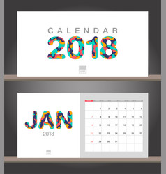 january 2018 calendar desk calendar modern design vector image